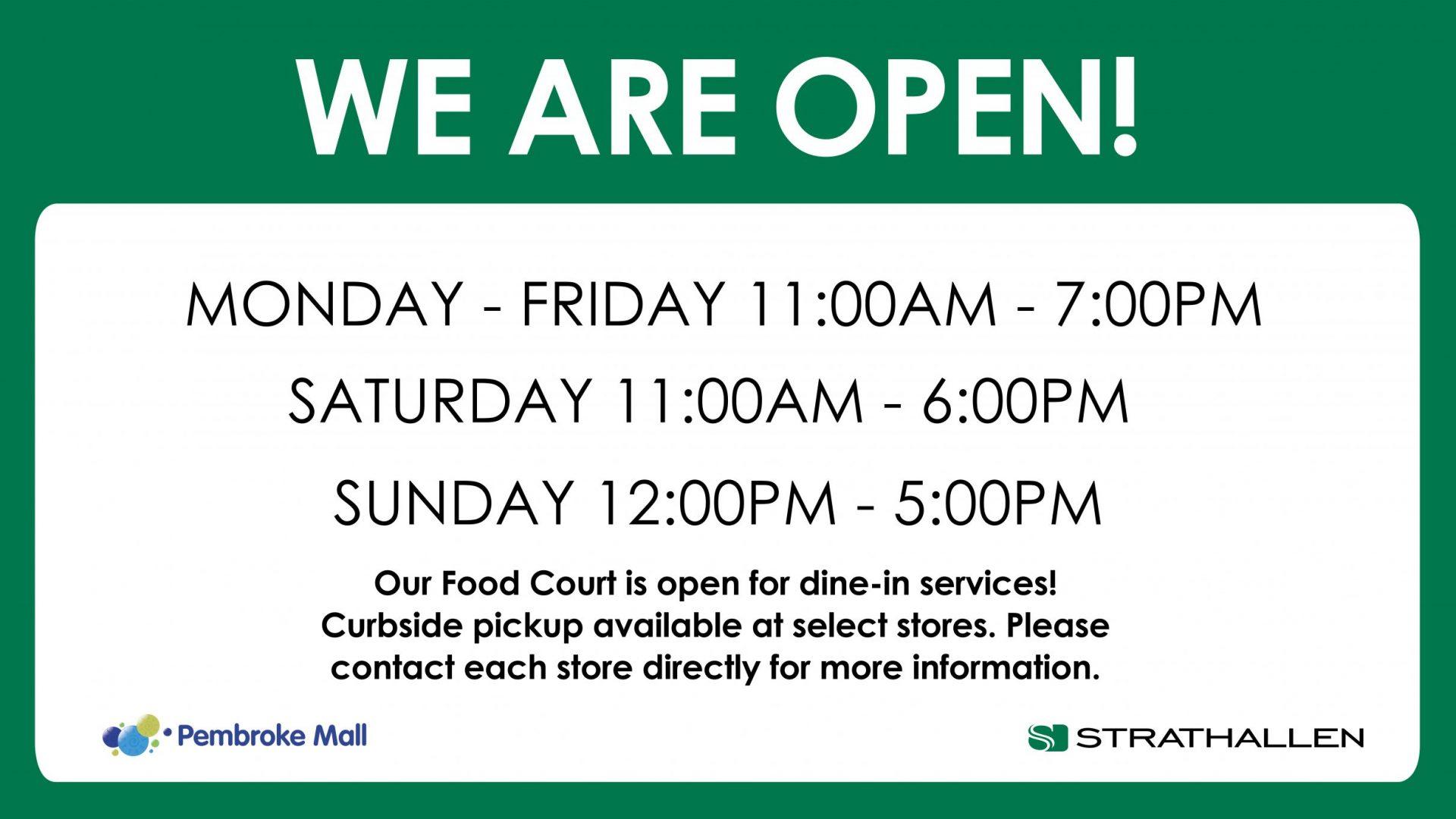 Strathallen Hours - Pembroke Mall